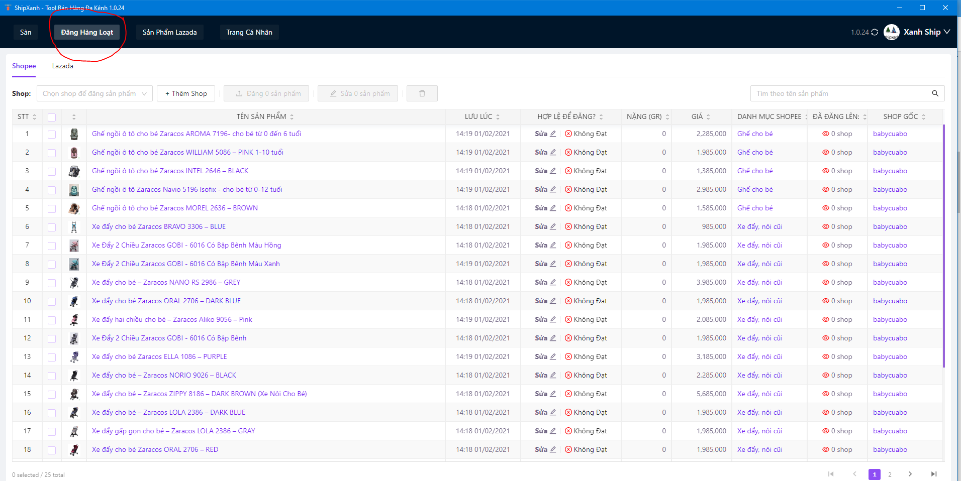 Hướng dẫn copy sản phẩm Shopee, nhân bản Shopee, backup Shopee